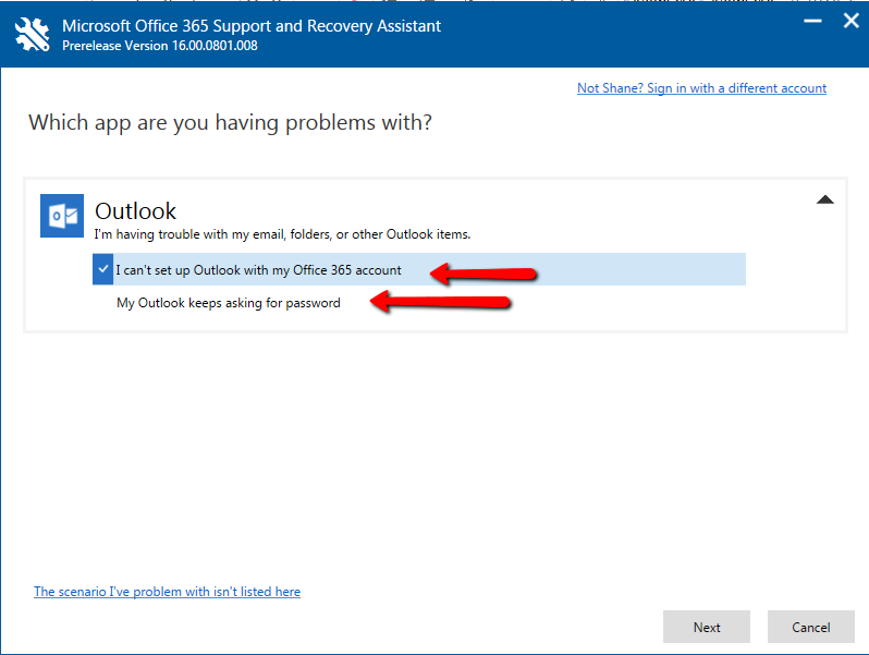 Microsoft Office 365 Support and Recovery Assistant   Shane