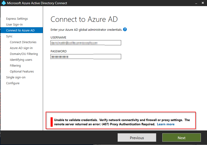 Azure AD Connect – The remote server returned an error: (407) Proxy Authentication Required