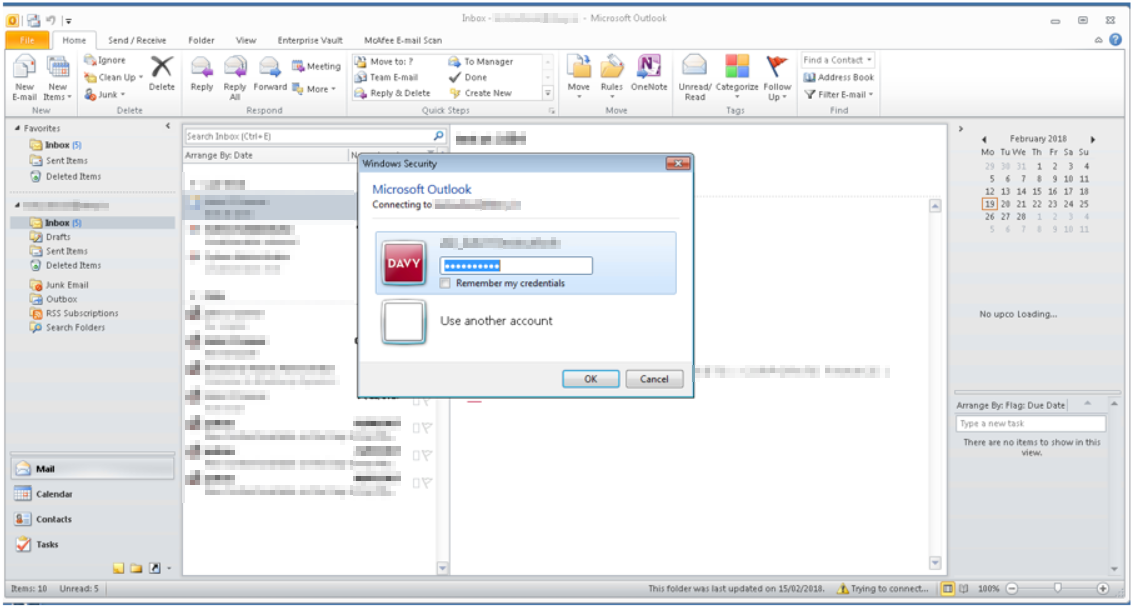 Outlook client can't connect to Exchange 2016 – continually