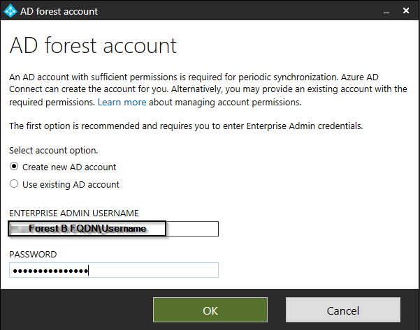"""Azure AD Connect fails – """"The user name or password is"""