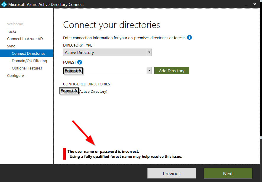 "Azure AD Connect fails – ""The user name or password is"